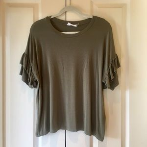 FOI Clothing Olive Green Ruffle Sleeve Top